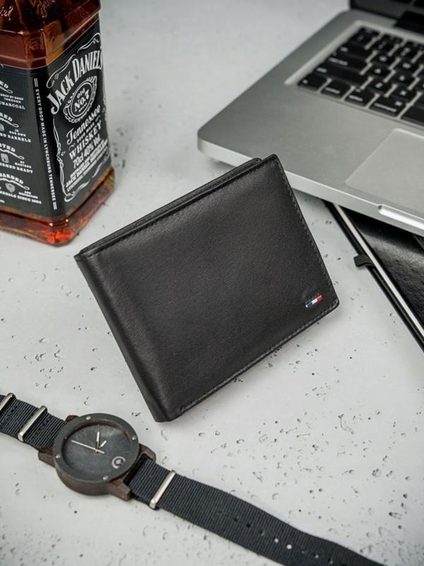 Pánská černá kožená peněženka 3077