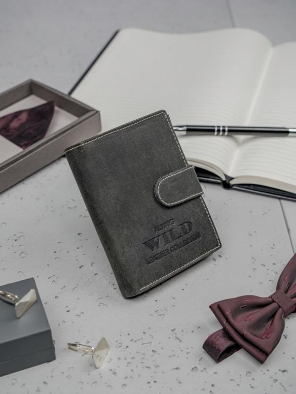 Pánská černá kožená peněženka 3198