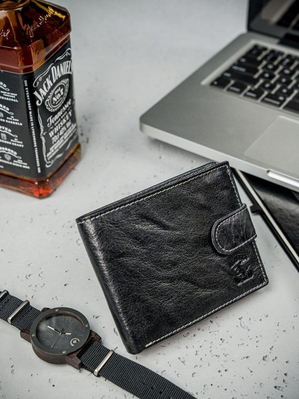 Pánská černá kožená peněženka 3205