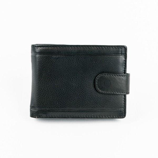 Pánská černá kožená peněženka 878