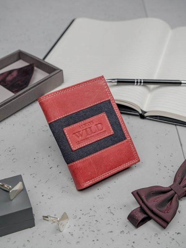 Pánská červená kožená peněženka 3179