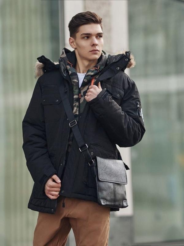 Stylizace č. 360 - brašna, zimní parka, mikina s kapucí, klasické tričko s dlouhým rukávem, baggy kalhoty
