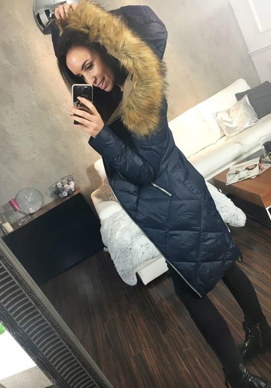 Tmavě modrá dámská zimní bunda Bolf 8069