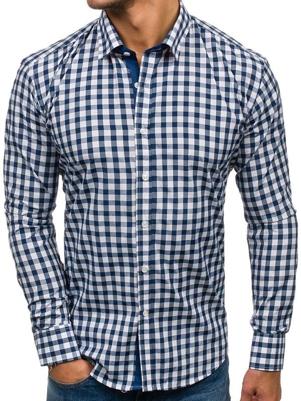 Tmavě modrá pánská kostkovaná košile s dlouhým rukávem Bolf GET29