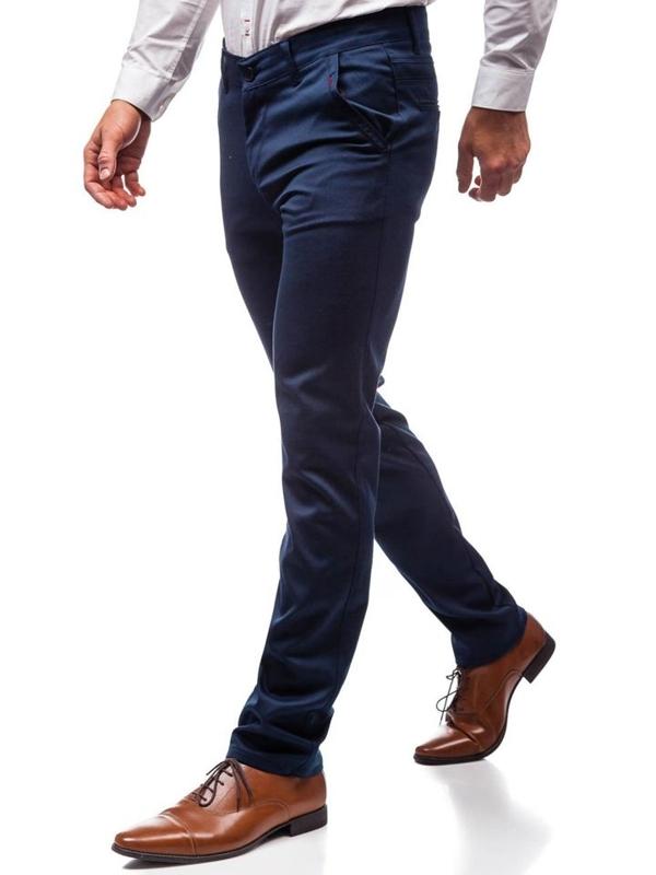 Tmavě modré pánské chino kalhoty Bolf 7616