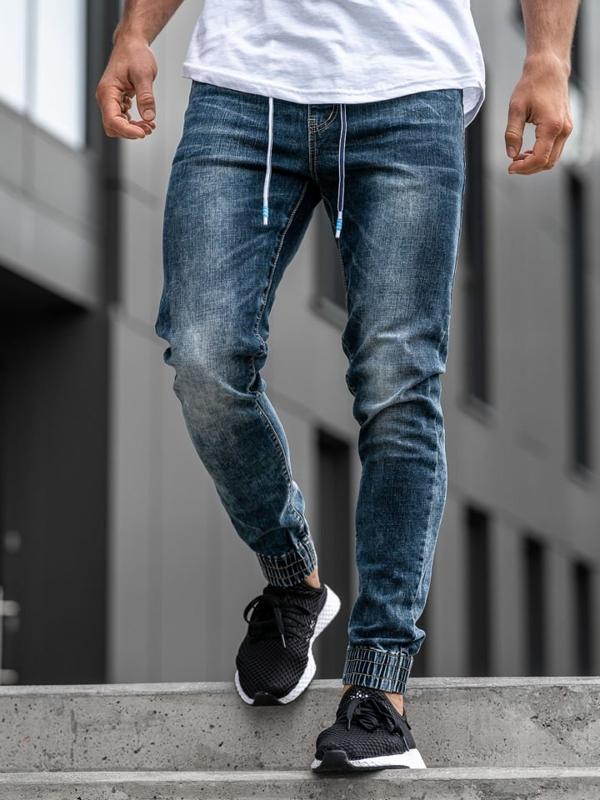 Tmavě modré pánské džínové jogger kalhoty Bolf KA680