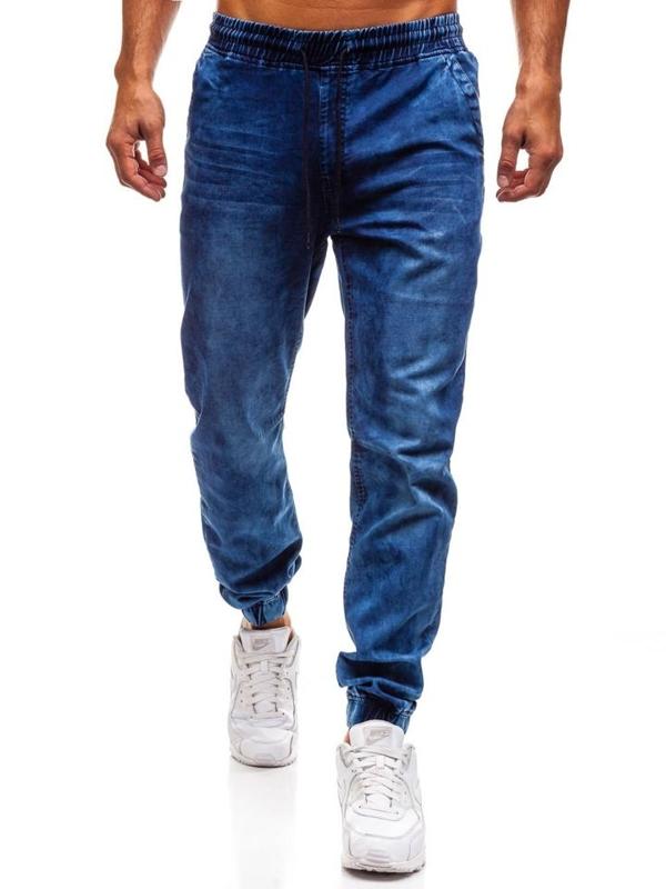 Tmavě modré pánské džínové jogger kalhoty Bolf Y242