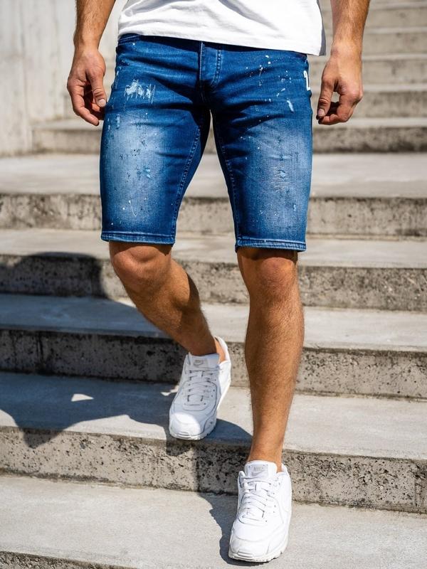 Tmavě modré pánské džínové kraťasy Bolf 3000