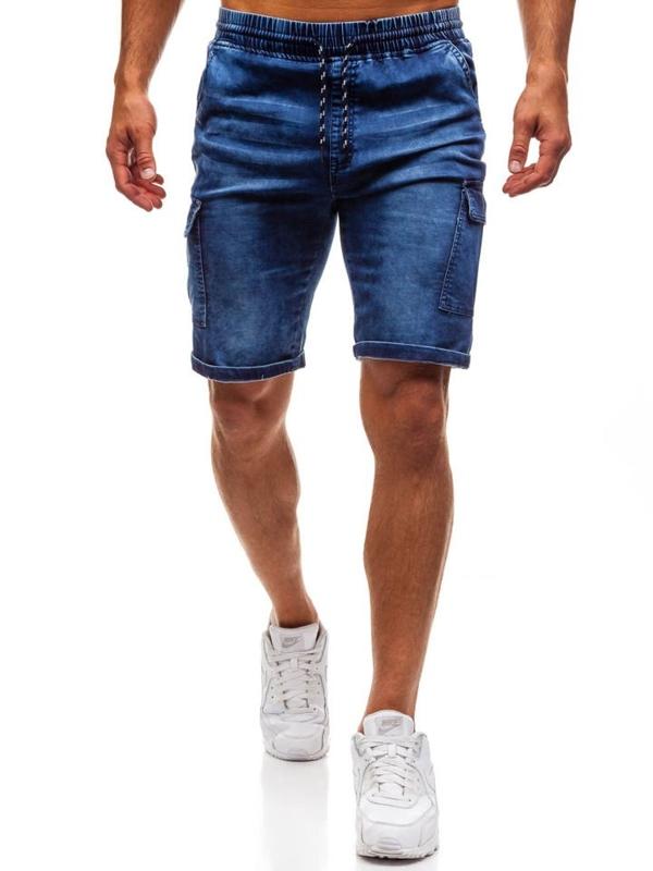 Tmavě modré pánské džínové kraťasy Bolf HY191