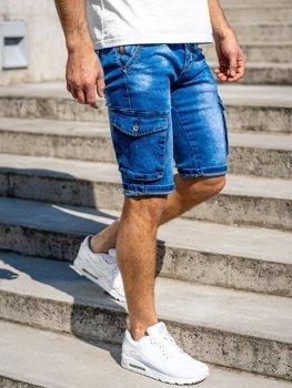 Tmavě modré pánské džínové kraťasy Bolf KR1076
