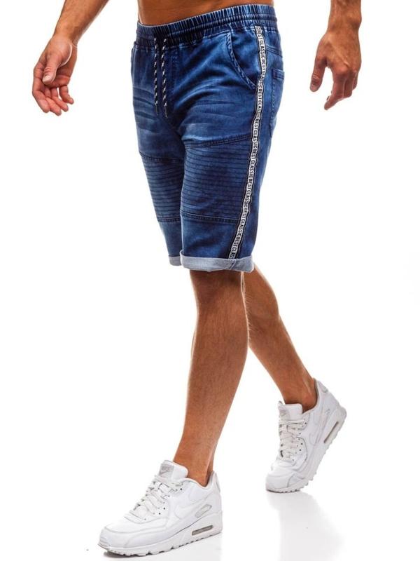 Tmavě modré pánské džínové kraťasy HY190