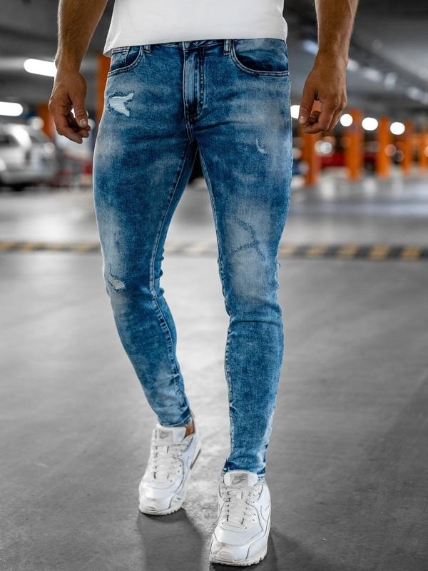 Tmavě modré pánské džíny skinny fit Bolf KX526