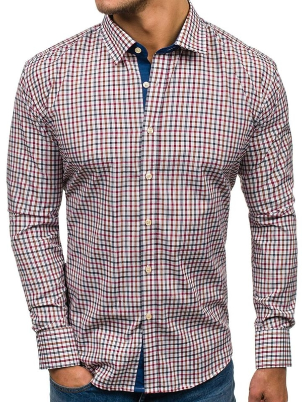 Tmavě modro-červená pánská kostkovaná košile s dlouhým rukávem Bolf GET6