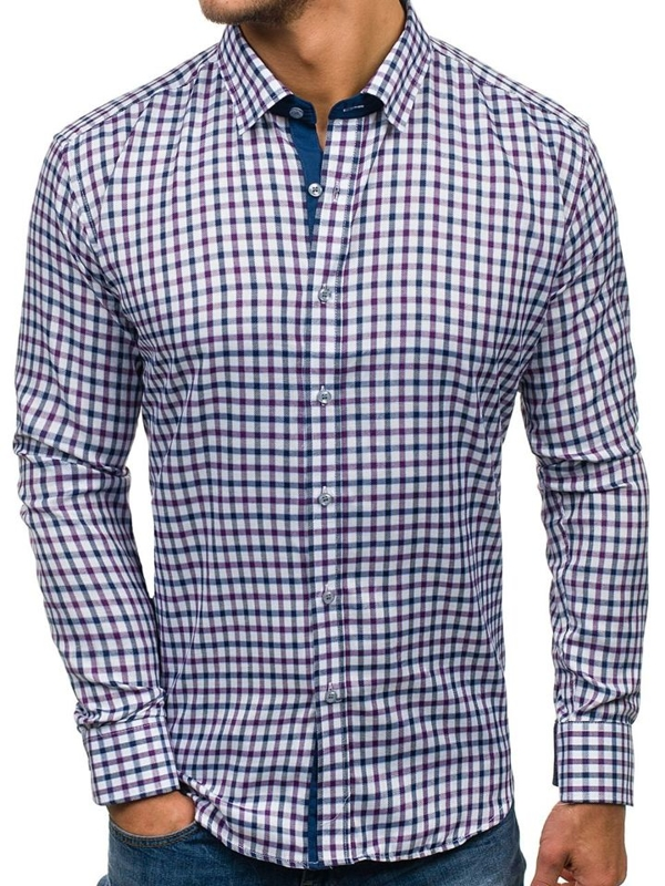 Tmavě modro-fialová pánská kostkovaná košile s dlouhým rukávem Bolf GET33