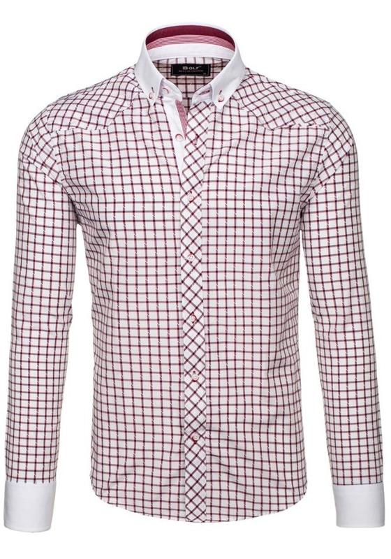 Vínová pánská elegantní kostkovaná košile s dlouhým rukávem Bolf 6959
