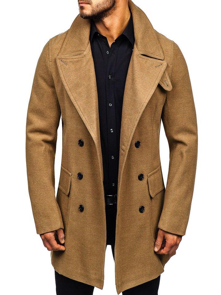 ac7ffbdff Camelový pánský zimní kabát Bolf 1048