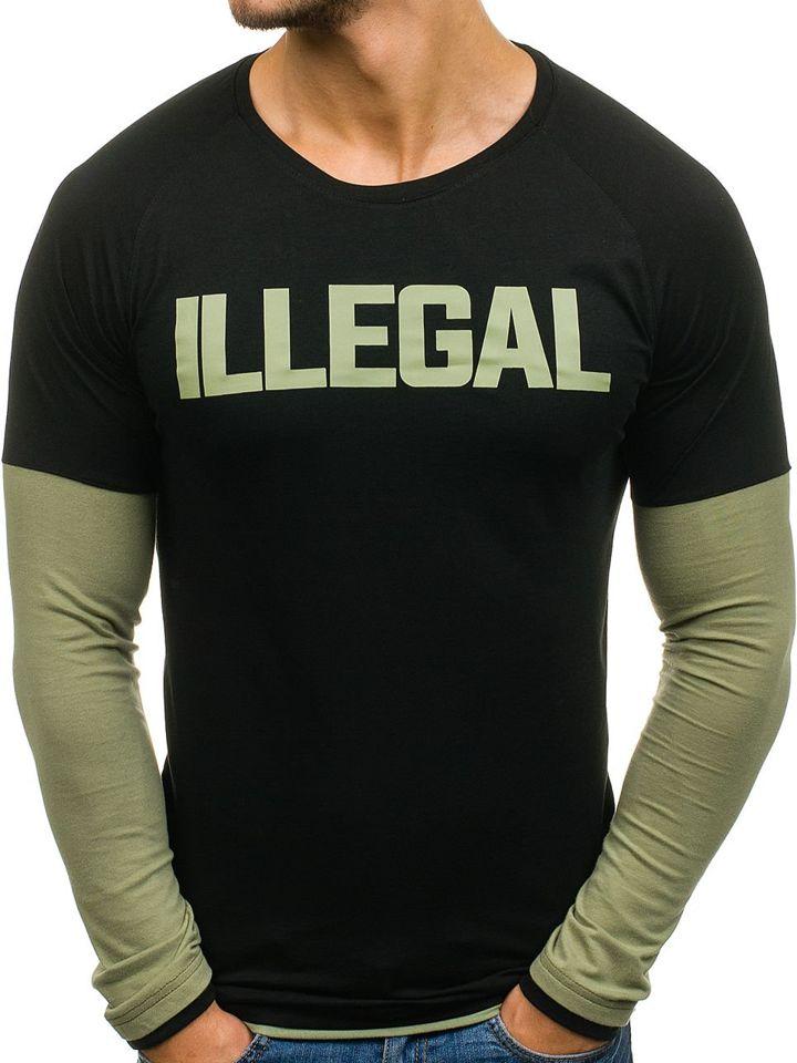 5bf1f8d19b87 Černo-zelené pánské tričko s dlouhým rukávem Bolf 1162