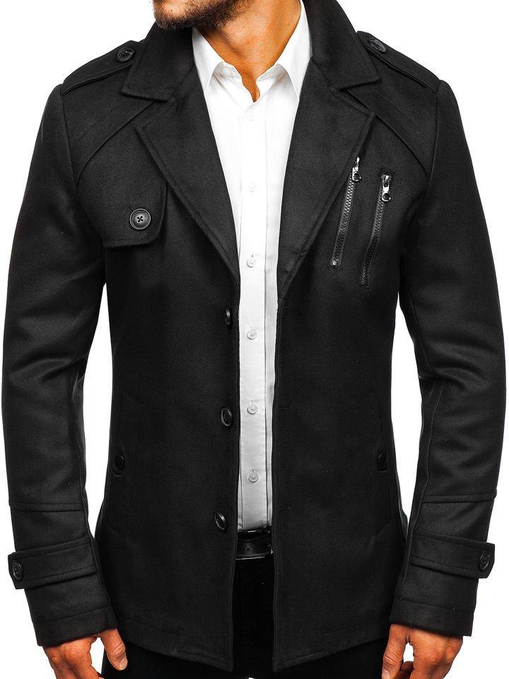 Černý pánský zimní kabát Bolf 3135 5ea94d2ea94