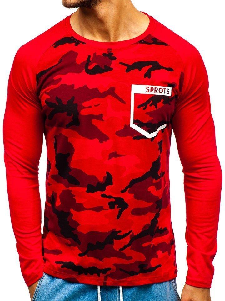 d9027cc7b487 Červené pánské maskáčové tričko s dlouhým rukávem a potiskem Bolf XXS1054
