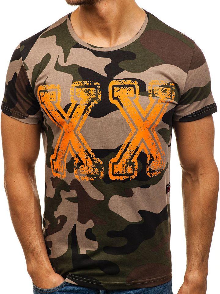 c9a0acc4efd9 Maskáčovo-zelené pánské tričko s potiskem Bolf 2100