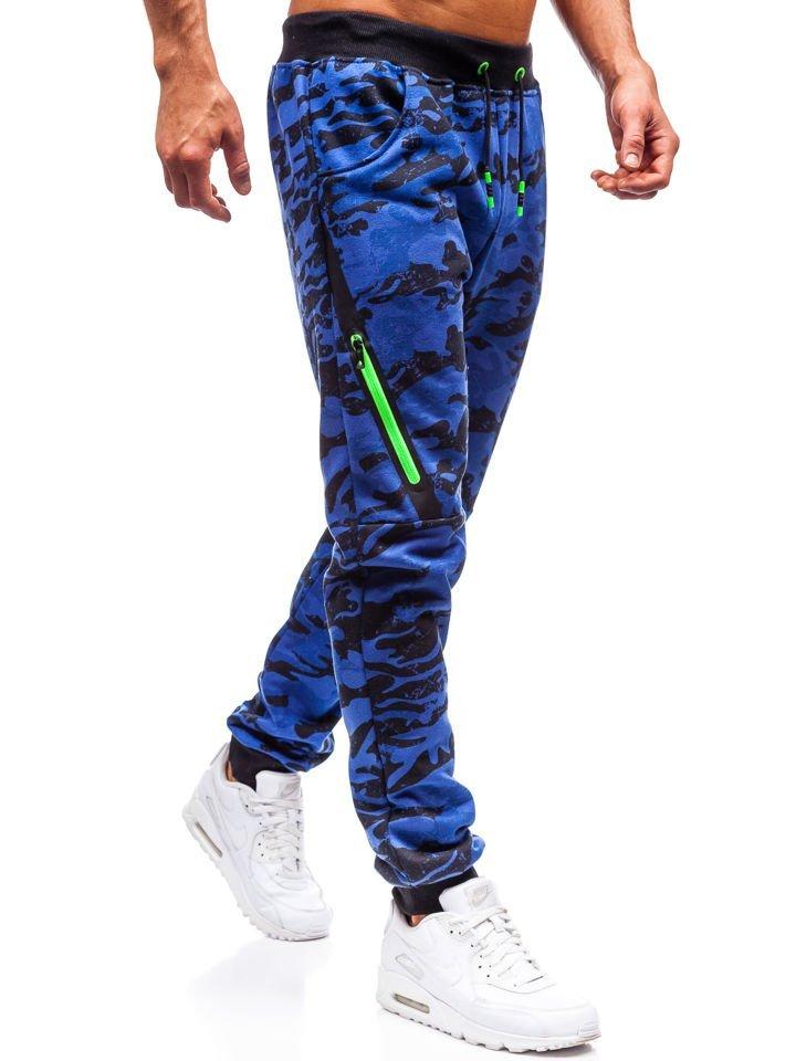 b24ef03e821b Modré pánské maskáčové jogger tepláky Bolf 55025