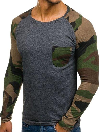 Antracitové pánské tričko s dlouhým rukávem a potiskem Bolf 1089