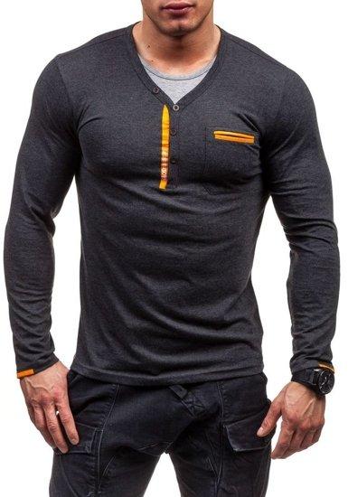 Antracitové pánské tričko s dlouhým rukávem bez potisku Bolf 6161