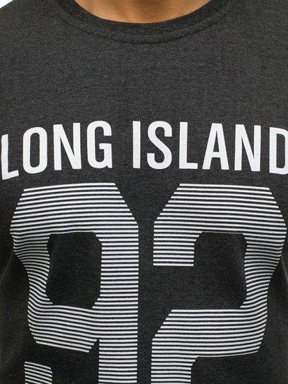Antracitové pánské tričko s dlouhým rukávem s potiskem Bolf 4244