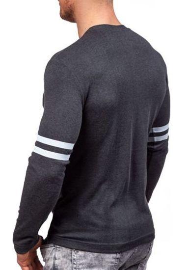 Antracitové pánské tričko s dlouhým rukávem s potiskem Bolf 4245