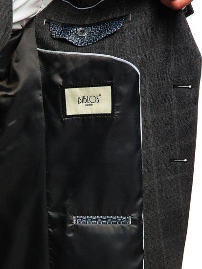Antracitový pánský kostkovaný oblek s vestou Bolf 18200