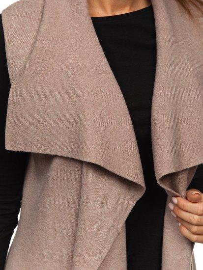 Béžový dámský svetr kardigan bez rukávů Bolf AL0220L