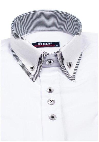 Bílá elegantní košile s dlouhým rukávem Bolf 6929