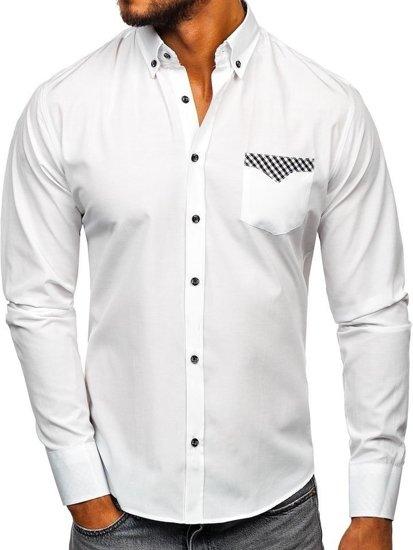 Bílá pánská elegantní košile s dlouhým rukávem Bolf 4711