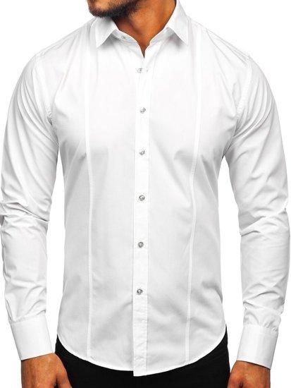 Bílá pánská elegantní košile s dlouhým rukávem Bolf 6944