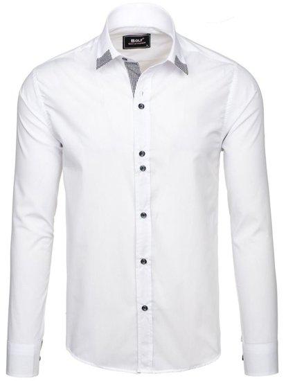 Bílá pánská elegantní košile s dlouhým rukávem Bolf 6952 9b2f981318