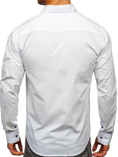 Bílá pánská elegantní košile s dlouhým rukávem Bolf 8838-1