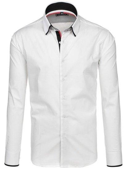 Bílá pánská elegantní košile s dlouhým rukávem Bolf G6