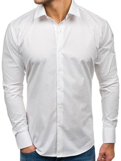 Bílá pánská elegantní košile s dlouhým rukávem Bolf GEM01