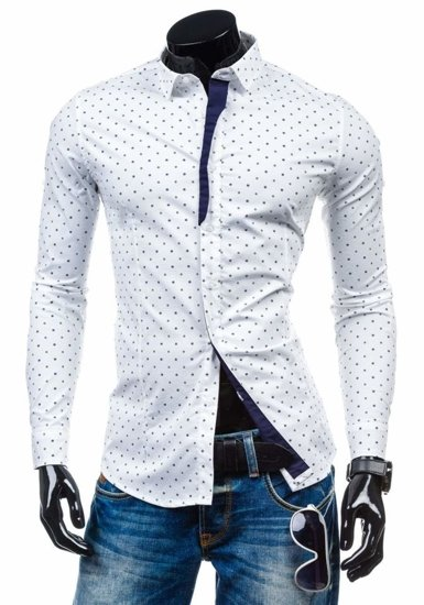 Bílá pánská elegantní vzorovaná košile s dlouhým rukávem Bolf 1756