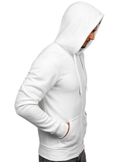 Bílá pánská mikina na zip s kapucí Bolf 2008