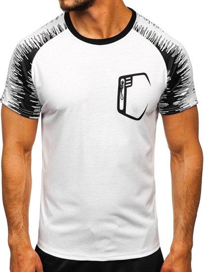 Bílé pánské sportovní tričko s potiskem Bolf KS2072