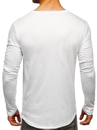 Bílé pánské tričko s dlouhým rukávem bez potisku Bolf 5059