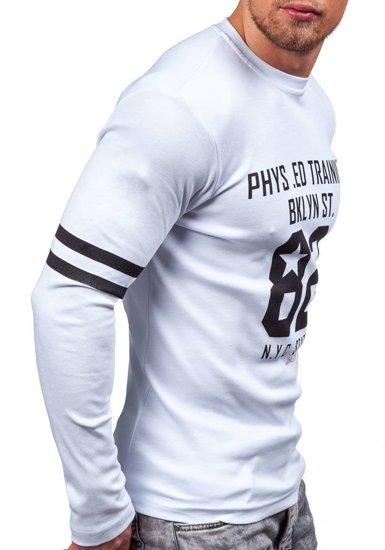 Bílé pánské tričko s dlouhým rukávem s potiskem Bolf 4245