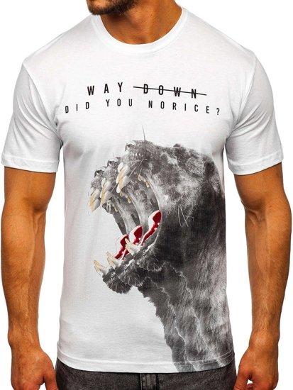 Bílé pánské tričko s potiskem Bolf 181519