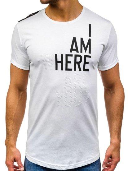 Bílé pánské tričko s potiskem Bolf 368-1