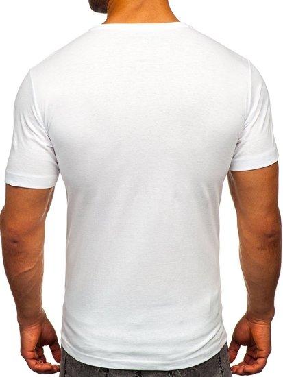 Bílé pánské tričko s potiskem Bolf 6298