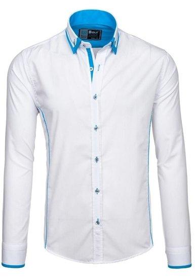Bílo-modrá pánská elegantní košile s dlouhým rukávem Bolf 4720