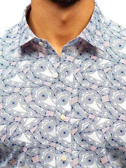 Bílo-tmavě modrá pánská vzorovaná košile s dlouhým rukávem Bolf 301G86
