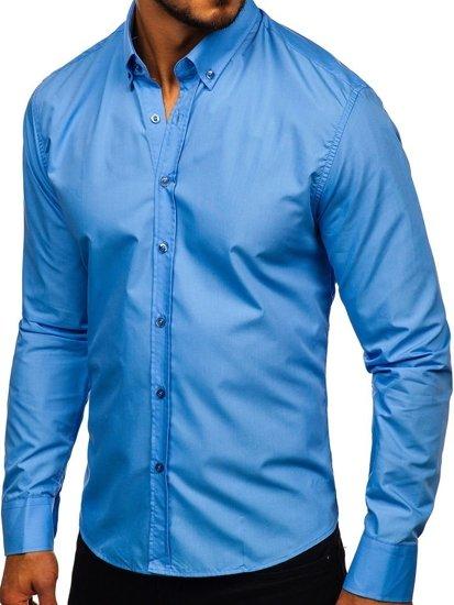 Blankytná pánská elegantní košile s dlouhým rukávem Bolf 5821