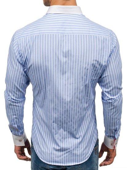 Blankytná pánská proužkovaná košile s dlouhým rukávem Bolf 1771